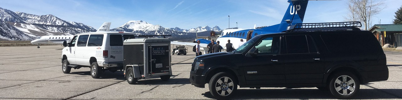 MAWS Van and SUV Picking Up Guests at Hot Creek Aviation