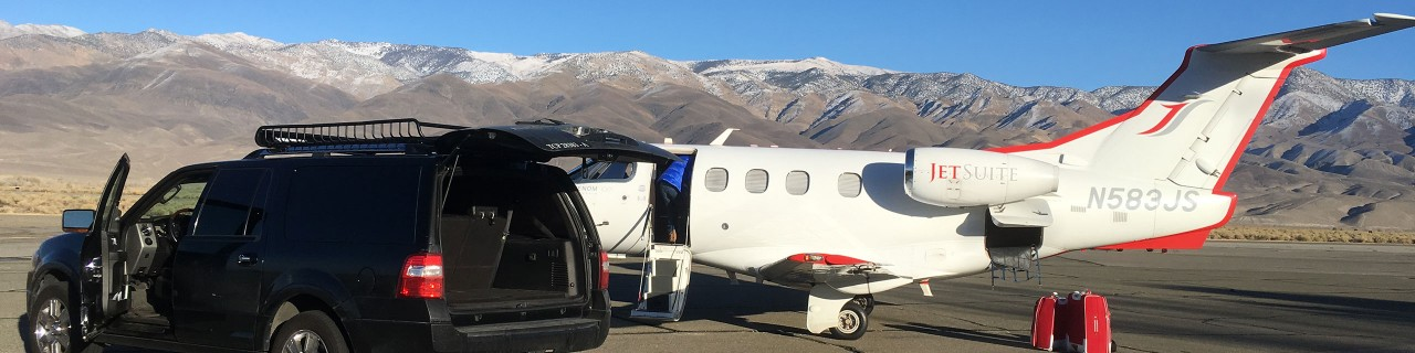Mammoth All Weather Shuttle Picking up Jet Suite Passengers at Bishop Airport